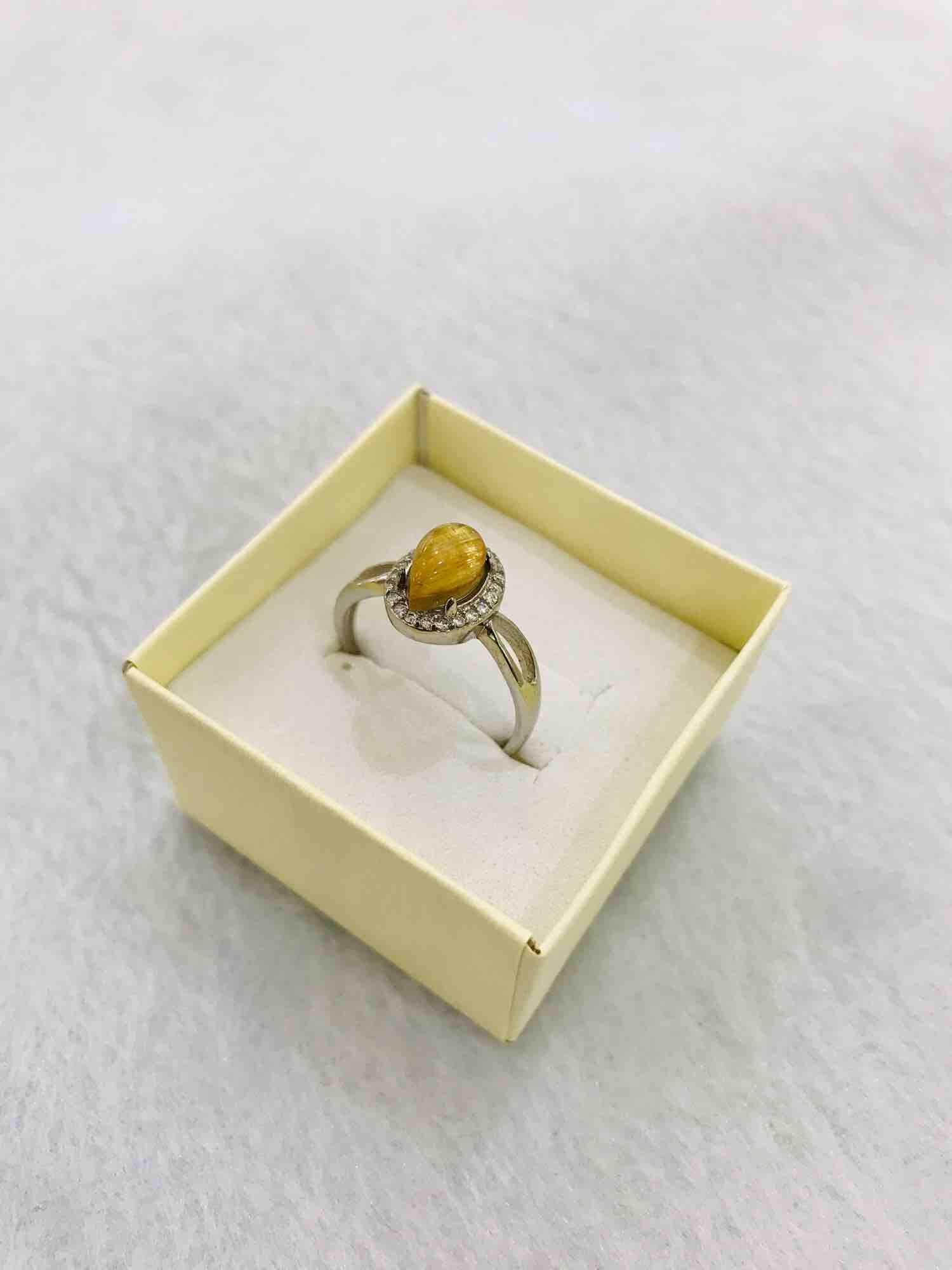 Nhẫn bạc đá thạch anh tóc vàng