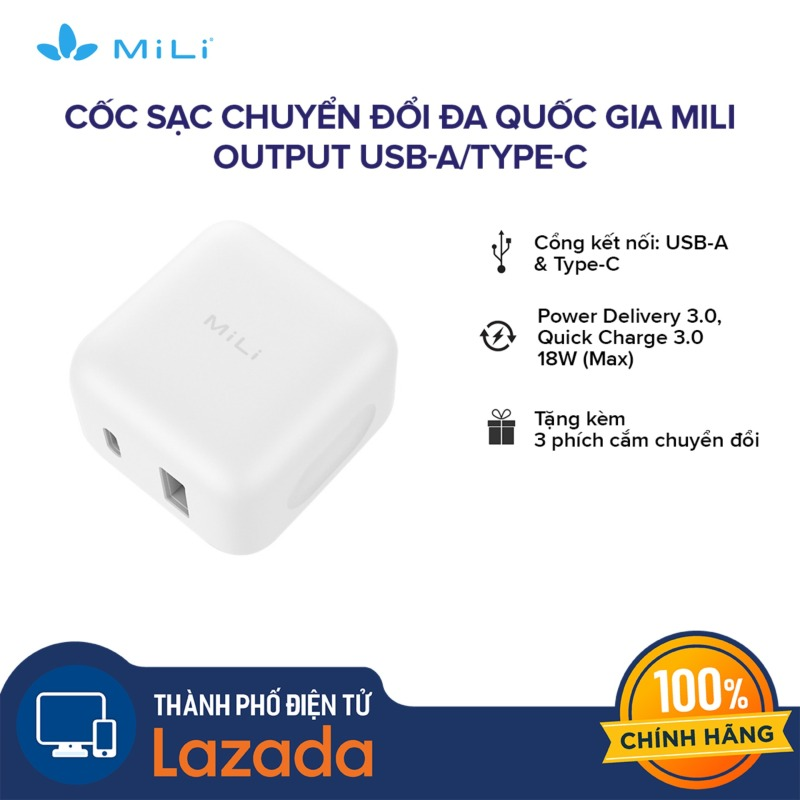 Giá [FREESHIP - HÀNG CHÍNH HÃNG - 2 NĂM 1 ĐỔI 1] Cốc sạc chuyển đổi đa quốc gia Mili l Output USB-A/Type-C - Power Delivery 3.0 18W l Sạc nhanh 3.0 18W (Max) l Tặng kèm 4 phích chuyển đổi l HC-H18