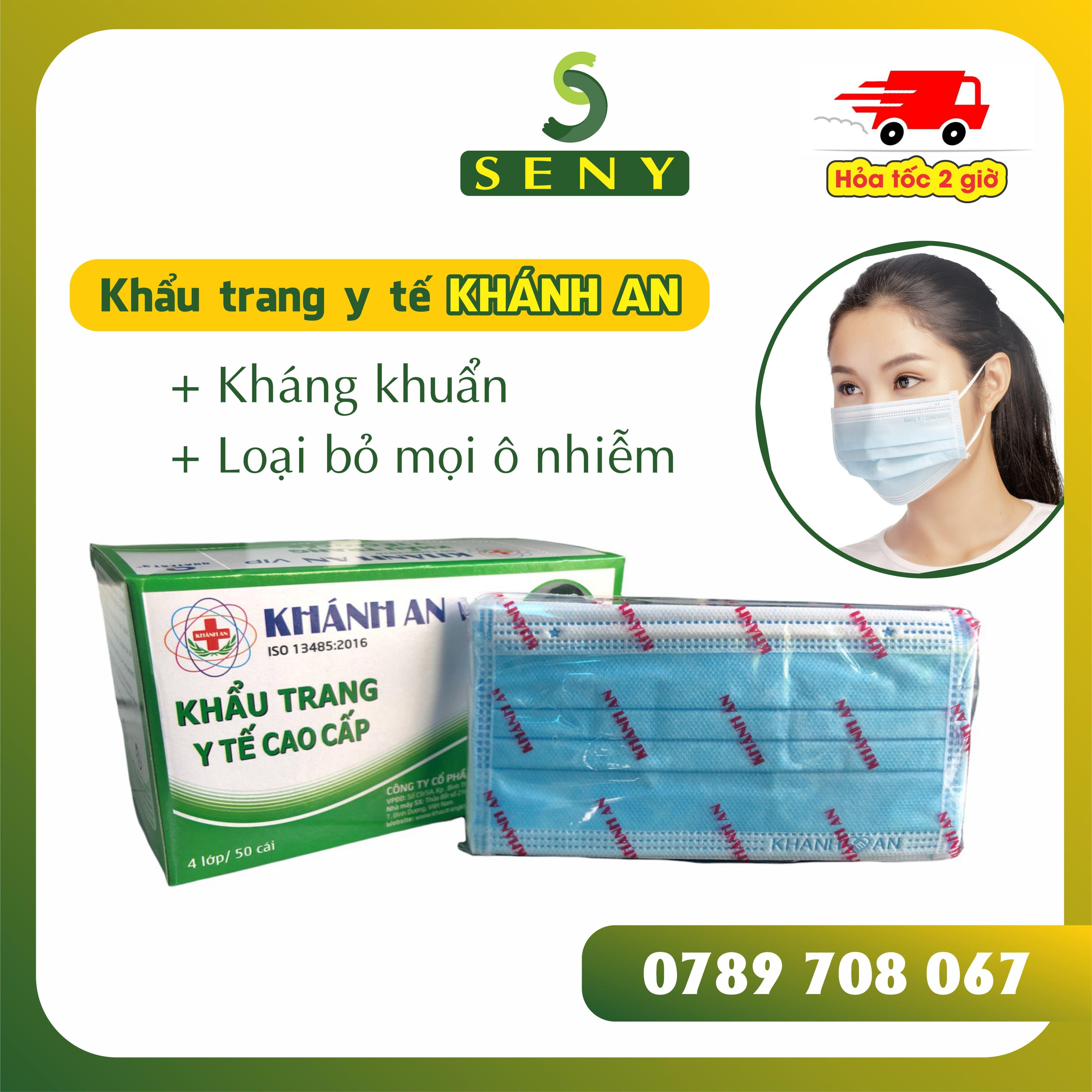 Khẩu Trang Y Tế 4 Lớp Kháng khuẩn - Màu Xanh Hộp 50 cái (4 Layers Face Mask)