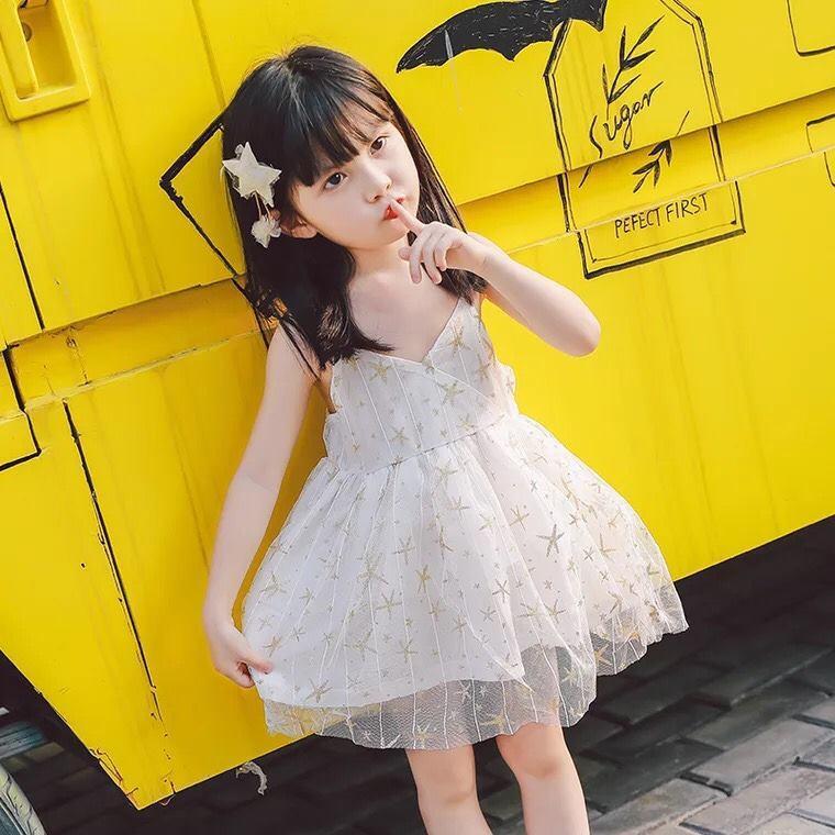 Váy công chúa hoạ tiết hình trái dứa - áo chất len tăm, chân váy voan 3 lớp Quảng Châu - dáng tiểu thư cực xinh cho bé gái (Hàng bán shop và siêu thị)