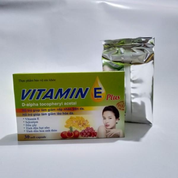 Bổ sung vitamin E tự nhiên, tinh dầu hoa anh thảo, dầu gấc, tinh dầu hạt nho Vitamin E Plus chống lão hóa, làm đẹp da, trắng da, tăng cường nội tiết tố nữ