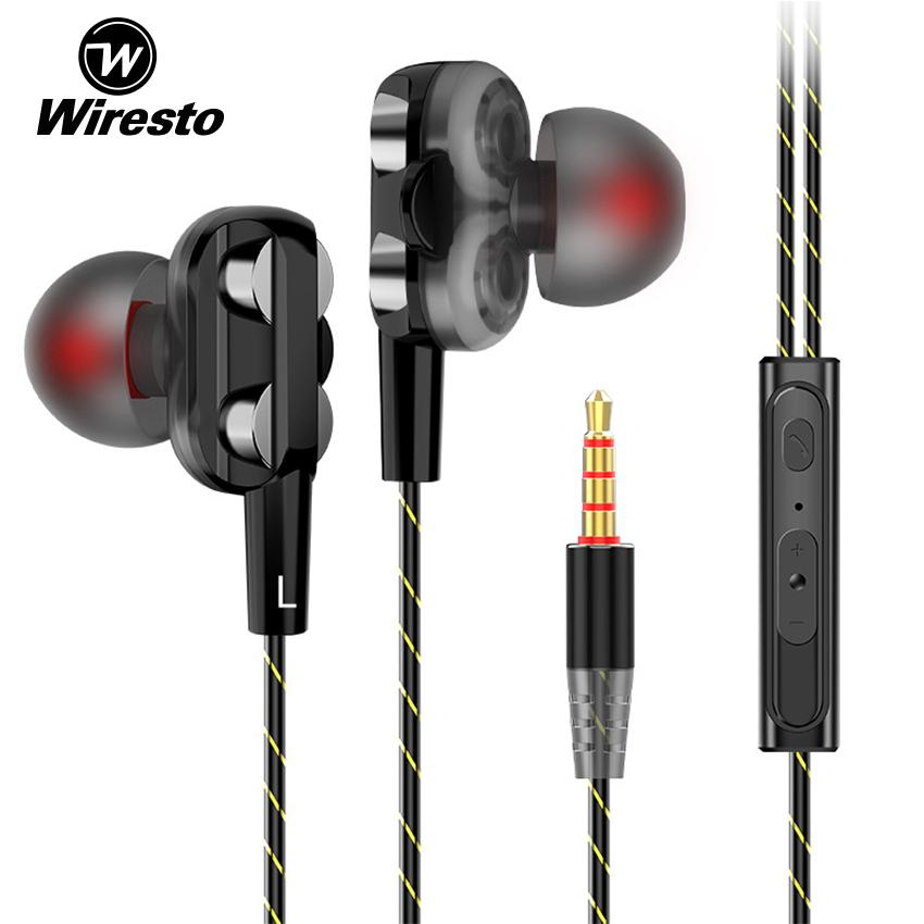 Wiresto In Ear Headphones Earphone Headset Wired Earbuds Soundproof Earplugs Quad Cores Headset HIFI Sound No Ear Pain Earphone with HD Microphone