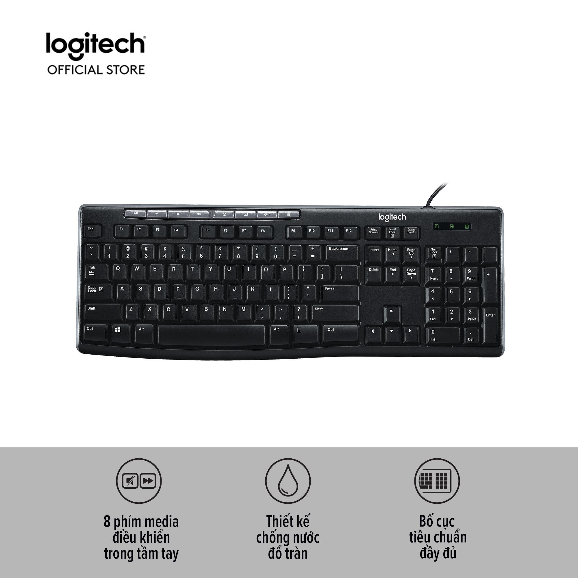 Bàn phím có dây Logitech K200 (Đen) với 8 phím media tiện dụng, Chống nước đổ tràn, Full size - Bảo hành 3 năm