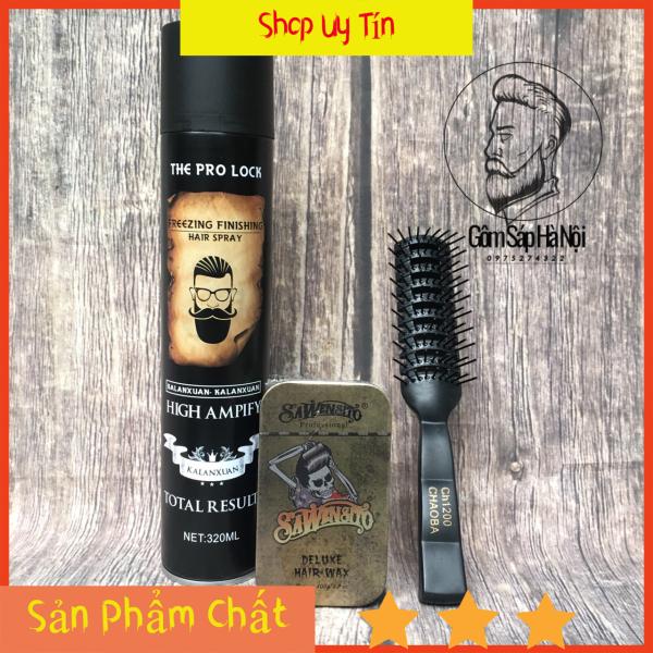 COMBO Gôm Xịt Tóc The Pro Lock High Ampify 420ml +Sáp Sawensito Deluxe Wax (giữ nếp tốt ) Tặng Lược