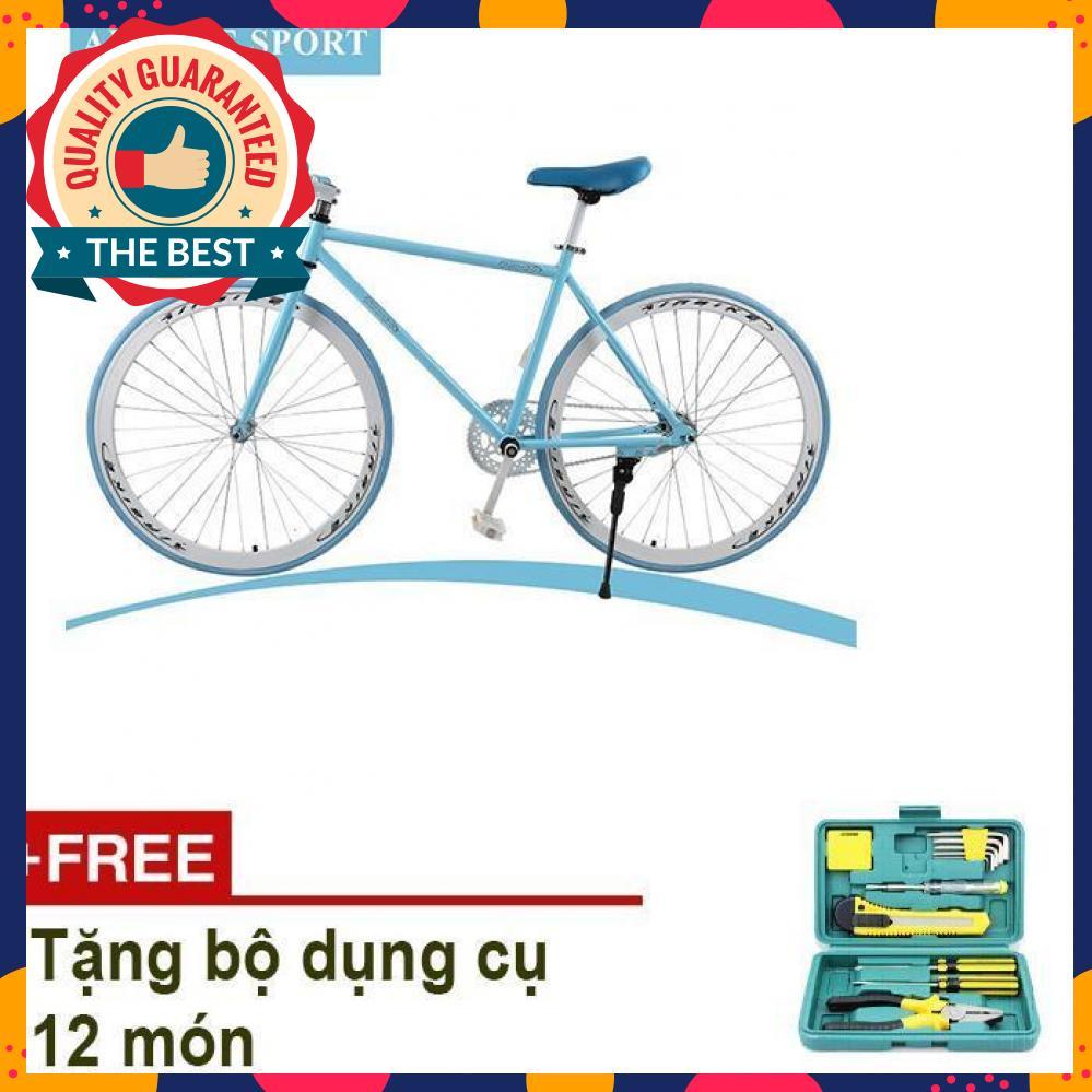 Mua Xe đạp Fixed Gear Air Bike MK78 khung hợp kim thép carbon, vành Nhôm không gỉ, săm lốp 700x23 (Xanh) + Tặng bộ dụng cụ 12 món