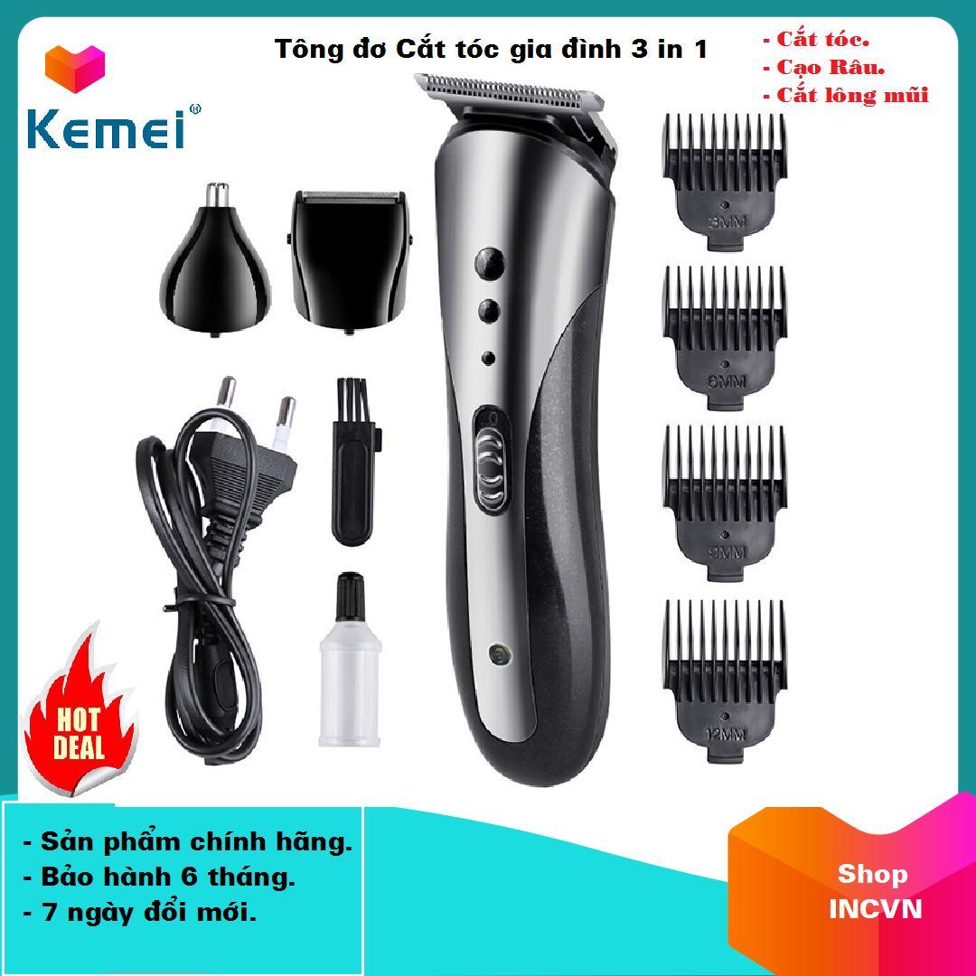 Giá Tông đơ cắt tóc gia đình, Tông đơ cắt tóc người lơn trẻ em  Tông đơ cắt tóc đa năng Cắt tóc, cạo râu, cắt lông mũi 3 trong 1 Kemei KM-1407 Lưỡi thép cacbon cao cấp(Có video hướng dẫn)