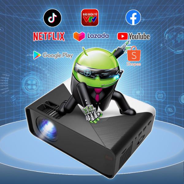 Máy chiếu mini Android 2-16gb độ phân giải 1080p xem phim full HD sắc nét, phù hợp gia đình và phòng chiếu nhỏ