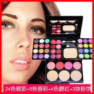 Bộ kit trang điểm ADS 5 in 1 gồm 24 màu mắt, 4 màu má hồng, 3 màu phấn nền, 8 màu son môi, 1 bông phấn và bộ cọ 3 cây tiện lợi thumbnail