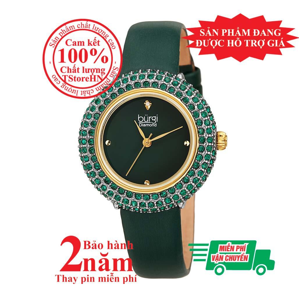 Nơi bán Đồng hồ nữ BURGI BUR227YGN, mặt Xanh (Green), nạm pha lê Swarovski cao cấp, dây da xanh (Green) , size 33mm- BUR227YGN