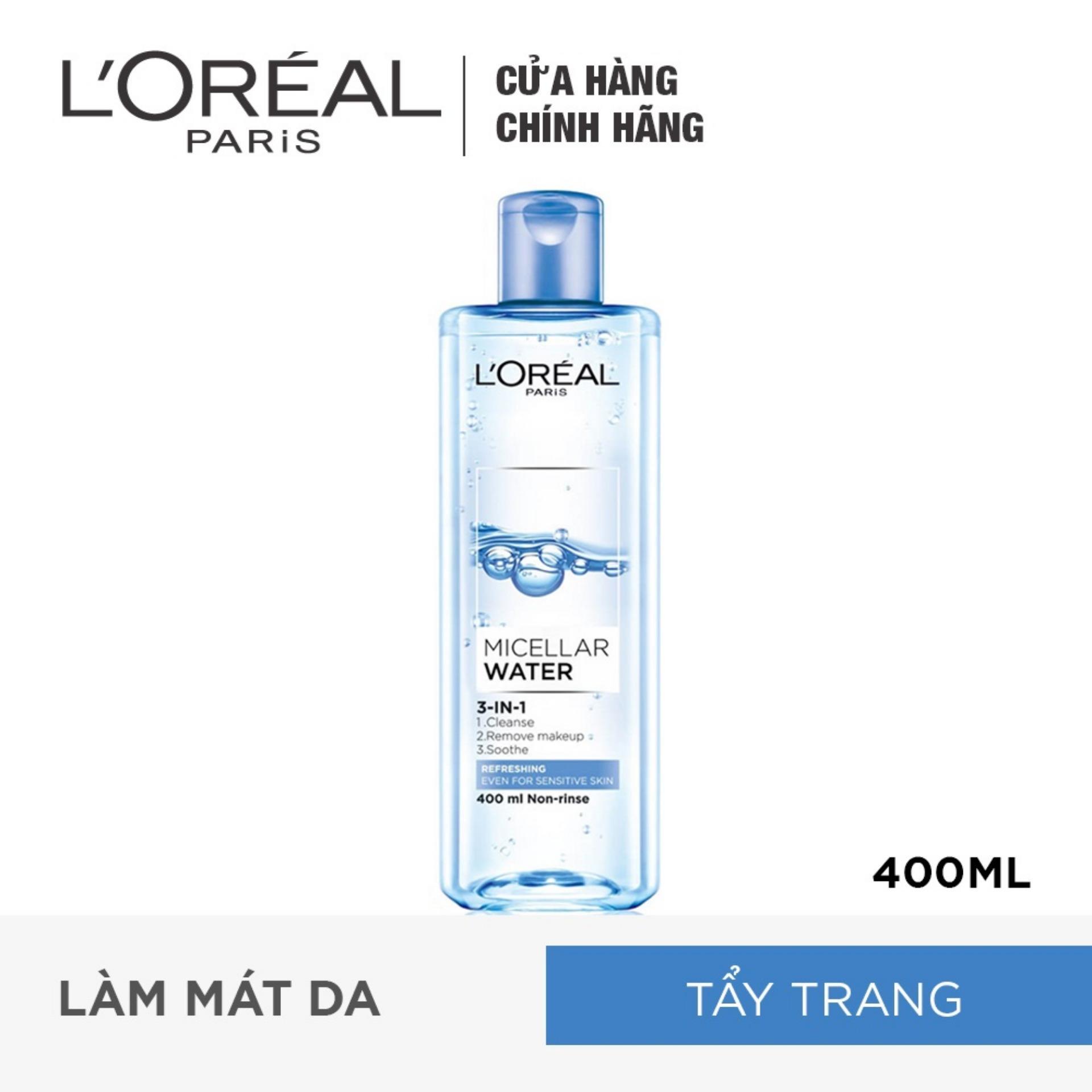 Nước tẩy trang tươi mát L'Oreal Paris Micellar Water 400ml (xanh dương nhạt)