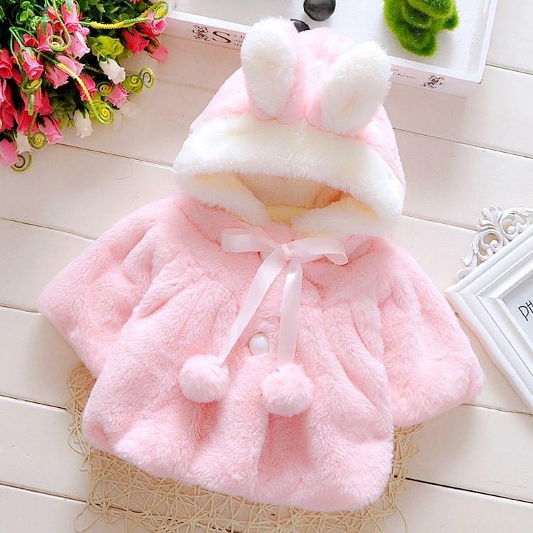 Áo khoác lông tai thỏ cho bé gái 4-16kg Nhật Bản