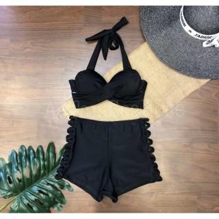Set bikini, 2 mảnh áo gọng xoắn dây dày mix quần cao short đan chéo dây màu đen cá tính thumbnail