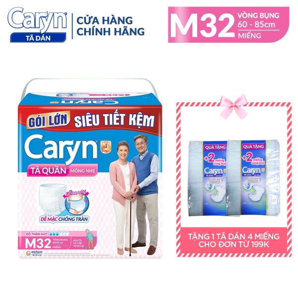 [ GÓI SIÊU TIẾT KIỆM] Tã Quần Người Lớn Caryn Loại Mỏng Nhẹ Chống Tràn Size M - 32 Miếng Dành Cho Người Có Thể Tự Đi Lại Được nhập khẩu