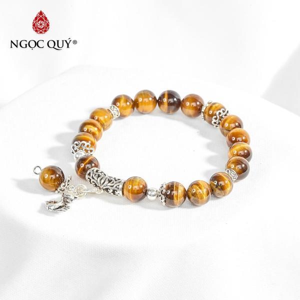 Vòng tay đá mắt hổ vàng nâu charm bạc hồ ly 9 đuôi 8mm mệnh thổ,kim (màu vàng nâu) - Ngọc Quý Gemstones