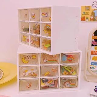 Hộp đựng đồ 9 ngăn kéo để bàn mini 3 màu - đựng đồ đa năng tiện lợi, màu sắc đa dạng chất liệu bằng nhựa cứng PP thân thiện với môi trường thumbnail
