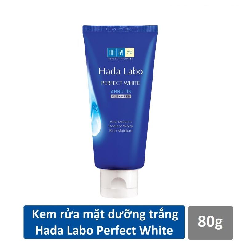 (mẫu mới 2023) Kem rửa mặt dưỡng trắng Hada Labo Perfect White Cleanser 80g