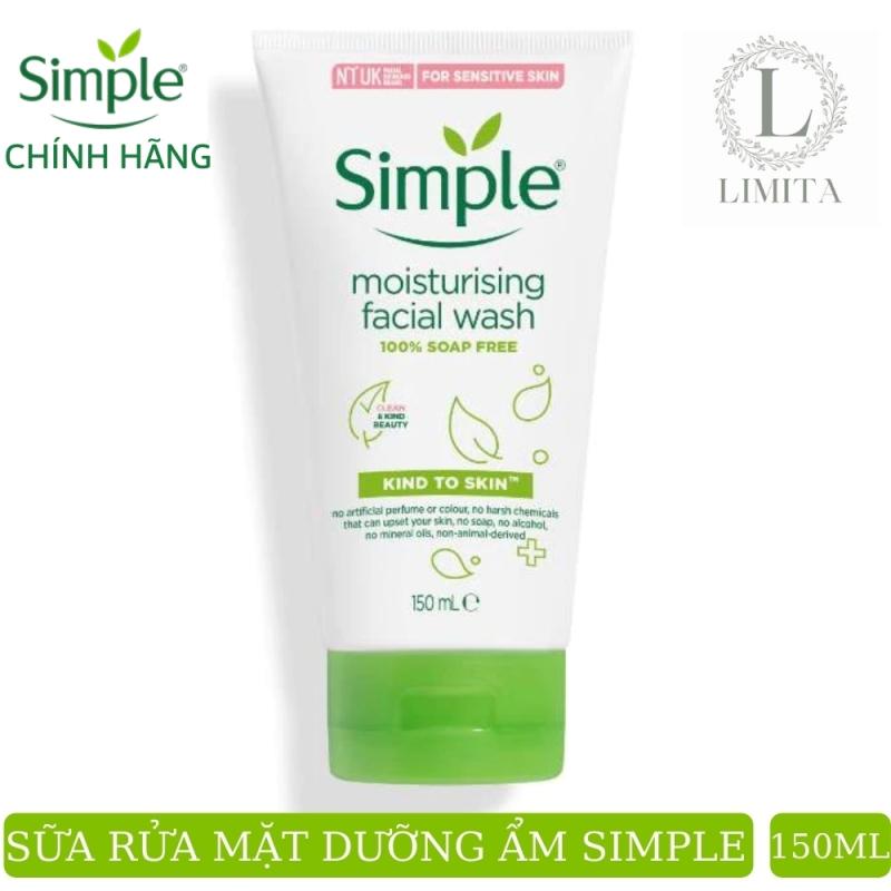 Sữa rửa mặt Simple dưỡng ẩm làm sạch sâu da (CHÍNH HÃNG) Moisturising Facial Wash phù hợp da khô, cấp ẩm da mềm mượt (150ml) Limita store