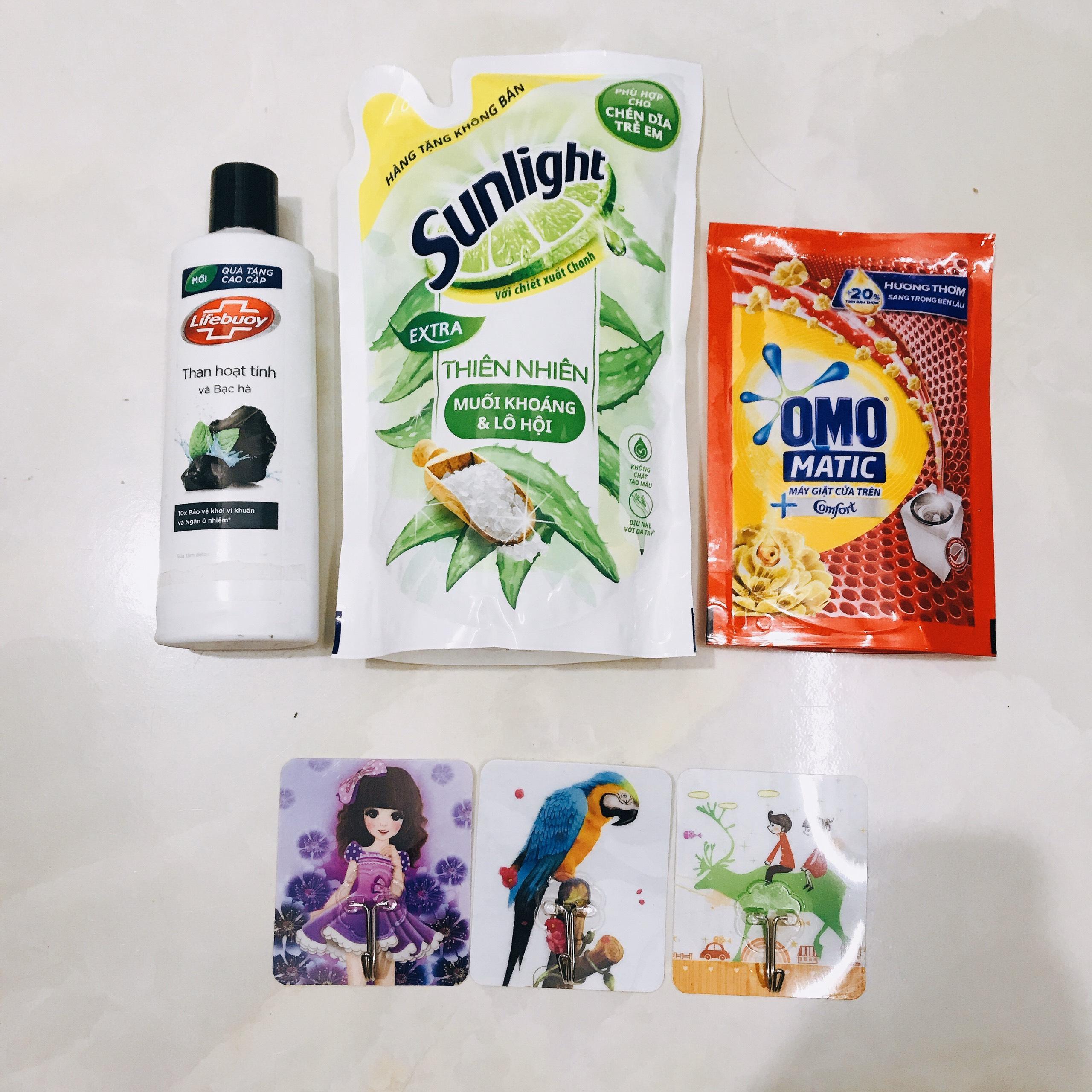 Mua trọn bộ 3 món - Tặng 3 móc dán tường siêu dính :  1Chai Sữa Tắm Dexto Lifebuoy 200g & 1túi nước rửa chén 550g & 1 túi nước giặt omo 150g/túi (HÀNG KM) cao cấp