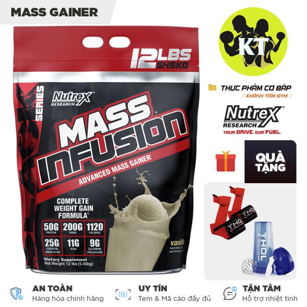 Sữa Tăng cân Mass Infusion của Nutrex 5.4 Kg Tặng kèm bình lắc 600ml và Dây kéo lưng cao cấp