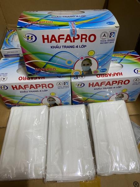 Khẩu trang y tế 4 lớp trắng  HAFAPRO.( 1 hộp / 50 cái )