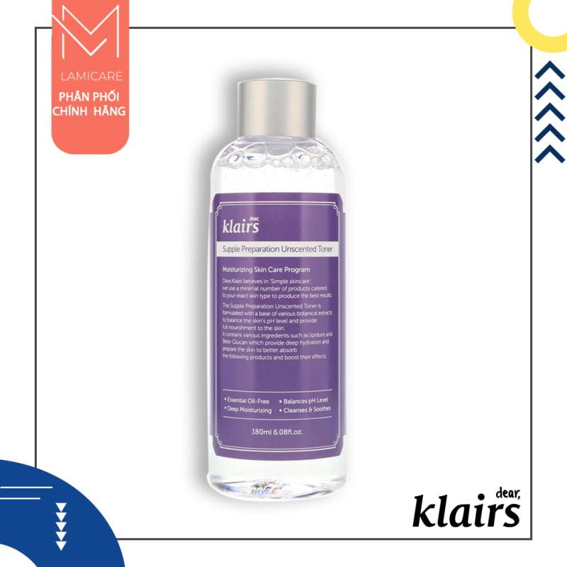 Klairs Nước hoa hồng klairs không mùi duy trì độ ẩm cho da căng mọng Klairs supple preparation unscentes toner 180ml Lamicare cao cấp