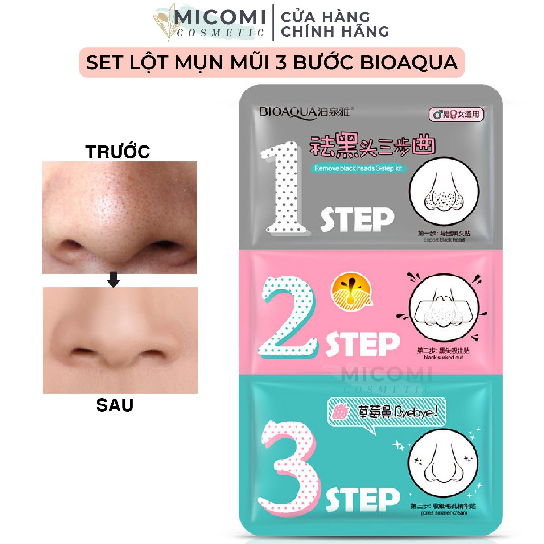 Mặt Nạ Lột Mụn Đầu Đen Mũi Set 3 Bước Mask Bioaqua Cao Cấp Nội Địa Trung MICOMI Cosmetics