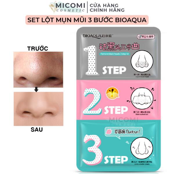 [HCM]Mặt Nạ Lột Mụn Đầu Đen Mũi Set 3 Bước Mask Bioaqua Cao Cấp Nội Địa Trung MICOMI Cosmetics