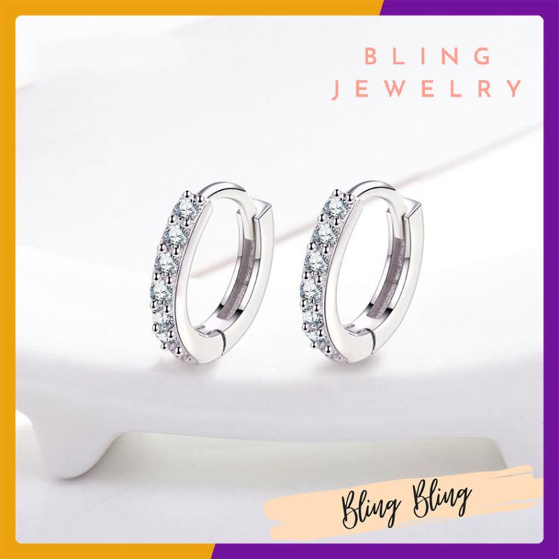 Bông Tai Thời Trang Dành Cho Nữ Bling Jewelry Bông Tai Dáng Khuyên Tròn Charm Đá Chất Liệu Bạc S925 Cao Cấp