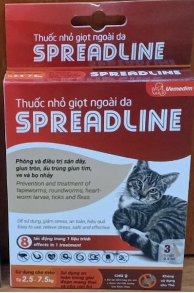 Nhỏ vai gáy, phòng trị toàn diện các loại giun sán, ấu trùng giun tim, ve, bọ chét (bọ nhảy), ghẻ tai ở mèo, SPREADLINE, hộp 3 tuýp 0.9 ml, 1 tuýp cho bé mèo 2.5-7.5 kg.