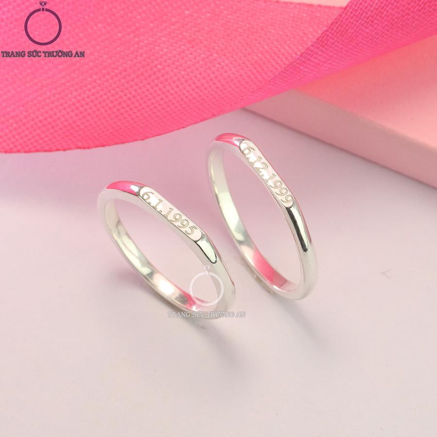 Nhẫn đôi bạc nhẫn cặp bạc khắc ngày tháng năm sinh ND0407 - Trang Sức Trường An