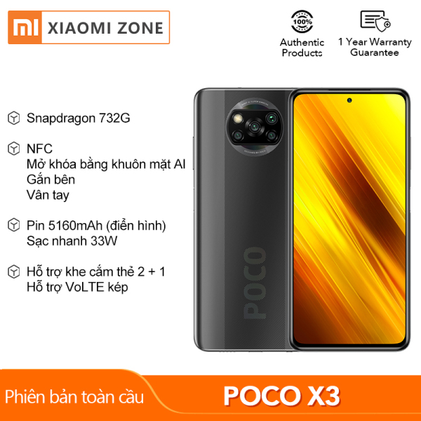 [1 Year Warranty+Free Shipping] New Arrival Original Xiaomi POCO X3 NFC Global Version 6GB RAM+64GB/128GB ROM AI Face Unlock Side-mounted Fingerprint Snapdragon 732G Pocophone Smartphone 64MP Camera 5160mAh 33W Charge Mobile Phone Sister POCO F2 Pro / X2