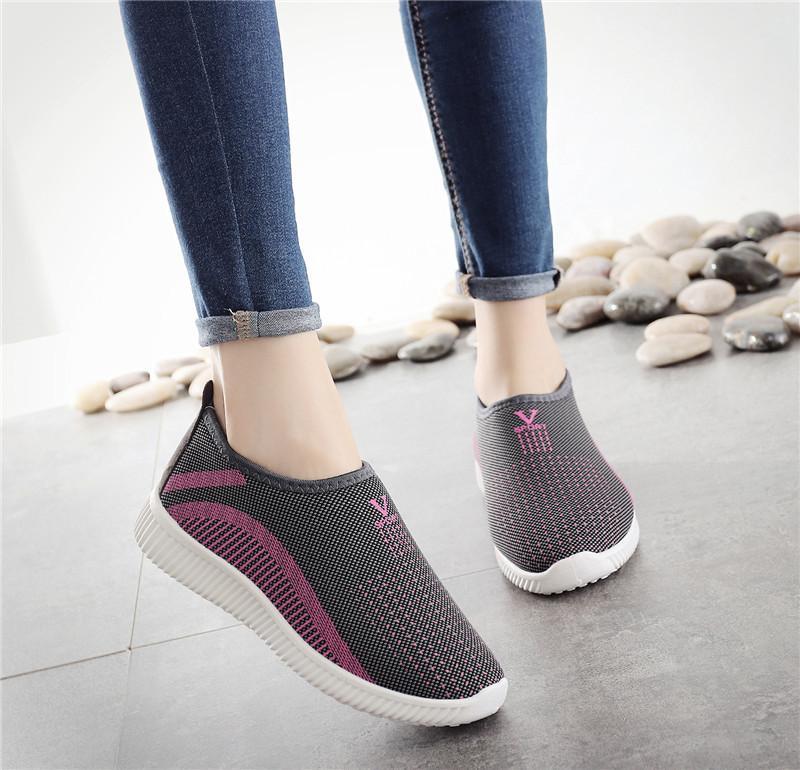 Giày lười nữ , giày ship on phong cách êm chân thoáng khí ghi, tím, đỏ, đen - V126+V132 (kèm Video thật SP)