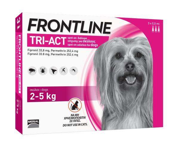 FRONTLINE TRIACT® size XS Phòng ve, Rận, Bọ chét, Ruồi, Muỗi cho chó từ 2 - 5kg (0.5ml/ống x 3 ống/hộp)