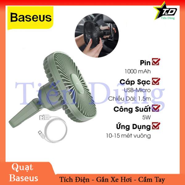 Quạt Mini Tích Điện Cầm Tay Hoặc Gắn Ghế Sau Ô Tô Baseus Natural Wind Magnetic Rear Seat Fan Dung