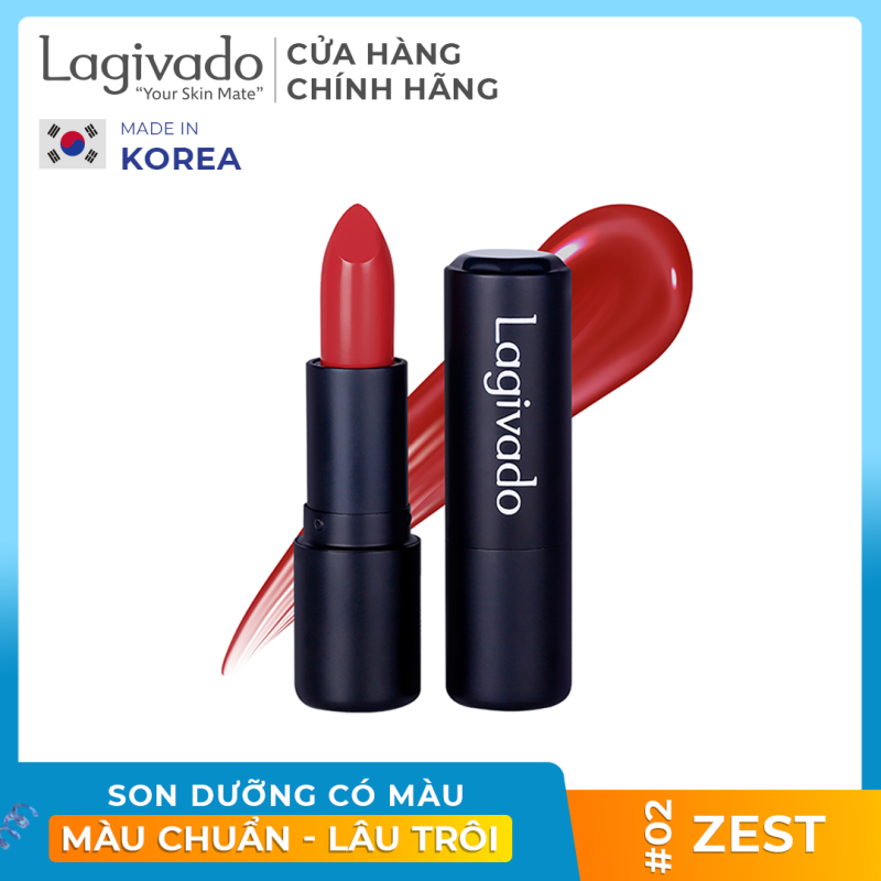 Son lì pha dưỡng lên màu chuẩn, bền màu, lâu trôi không gây khô, thâm môi Hàn Quốc Lagivado Lip Satin chính hãng có 5 màu son dạng thỏi 3,5g
