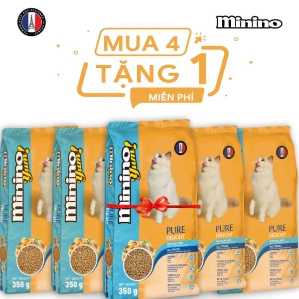 Combo thức ăn cho mèo Minino Yum 350gr - Mua 4 tặng 1