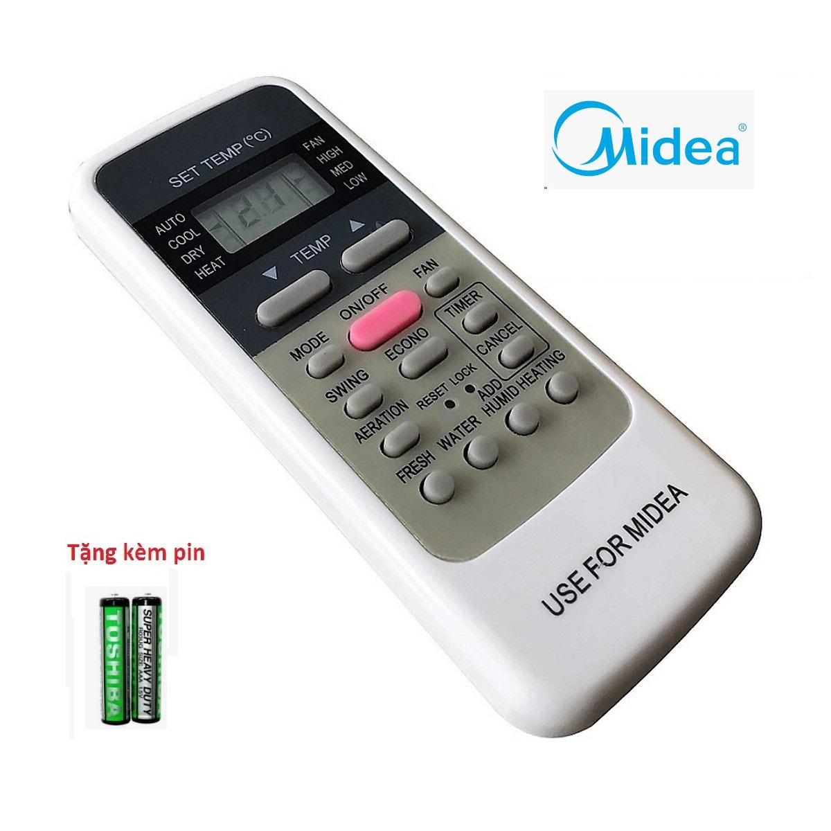 Điều khiển điều hòa Midea R51M/E 1 nút hồng mặt xanh loại tốt thay thế cho mã khiển zin theo máy - Remote midea  - Remote máy lạnh Midea R51M/E  nút hồng ở giữa -Bảo hành 3 tháng