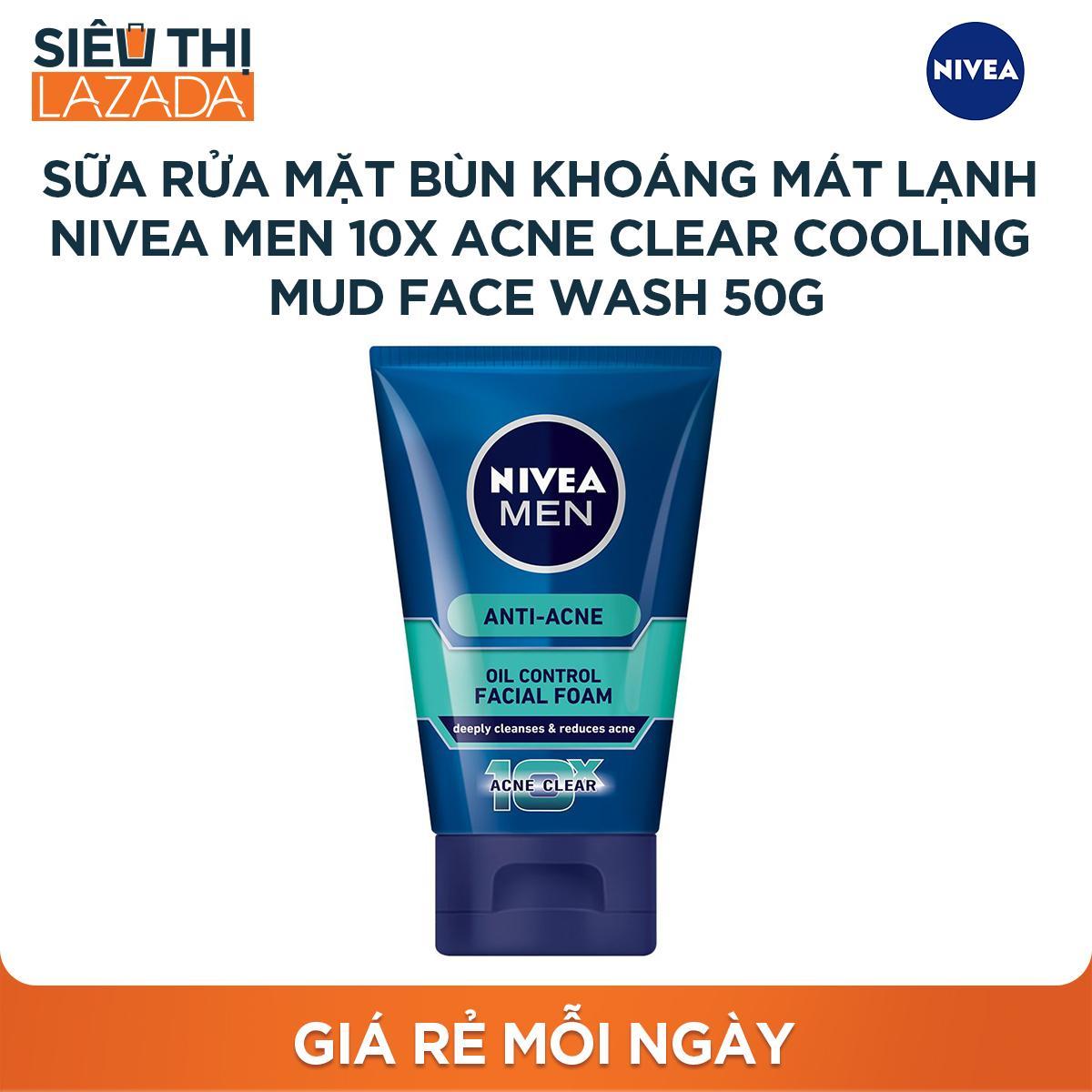 Sữa rửa mặt bùn khoáng mát lạnh NIVEA Men 10X Acne Clear Cooling Mud Face Wash 50g tốt nhất