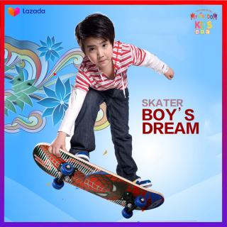 Ván trượt trẻ em Skateboard cao cấp làm từ gỗ ép 8 lớp, bánh xe PU chất lượng cao, in hình đang yêu giành cho bé thumbnail