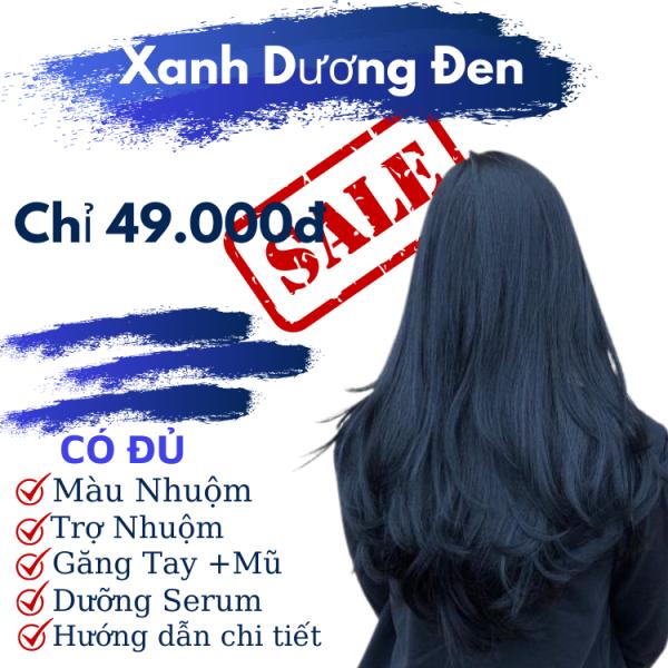 Nhuộm tóc màu xanh dương đen kl2.8 + oxy cho học sinh k cần tẩy