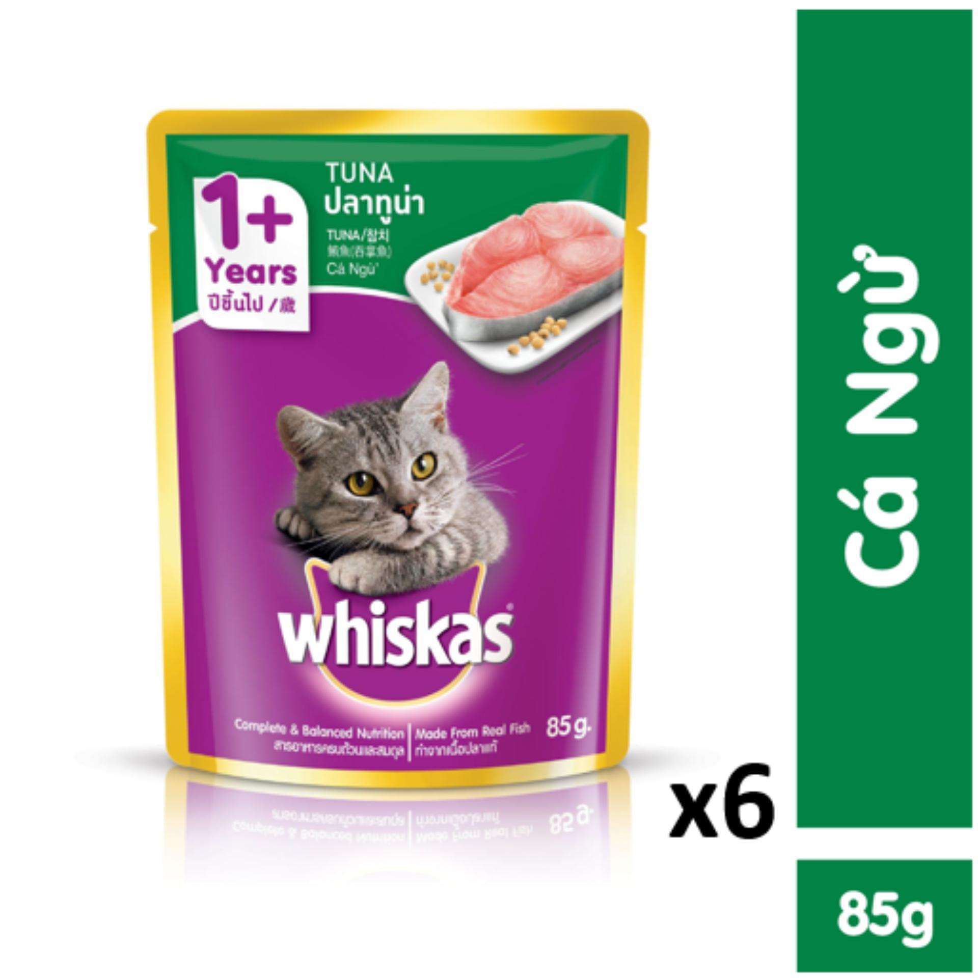 Tiết Kiệm Cực Đã Khi Mua Bộ 6 Túi Thức ăn Cho Mèo Whiskas Vị Cá Ngừ 85g