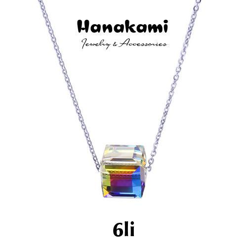 Dây chuyền nữ kèm mặt pha lê Swarovski Aurora lấp lánh thời trang hàn quốc sang trọng + tặng hộp đựng - hanakami