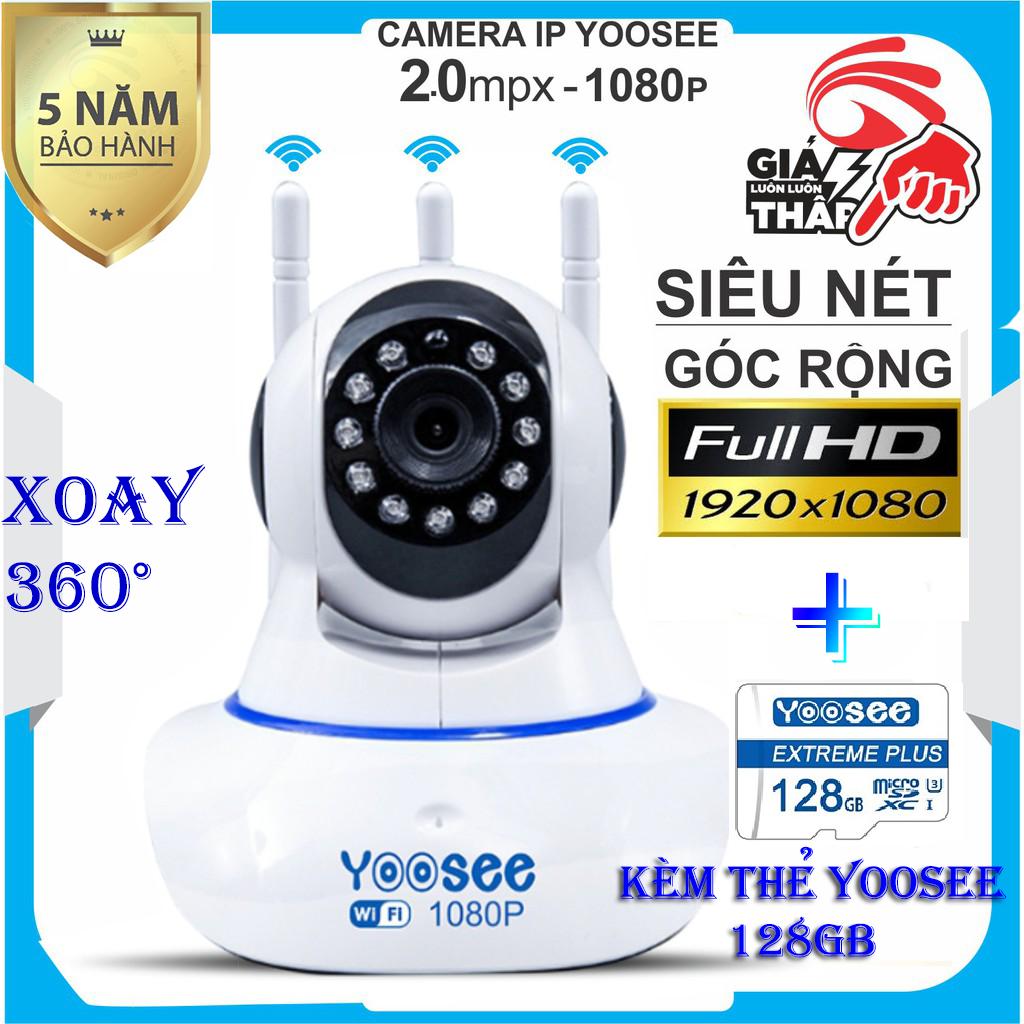 (KÈM Thẻ Nhớ 128GB Trị Giá 400k - BH 5 NĂM 1 ĐỔI 1 TRONG 30 NGÀY) - CAMERA WIFI KHÔNG DÂY  YOOSEE 3 Râu WIFI,xoay 360 độ SIÊU NÉT 2.0 FULL HD 1920 x 1080P,camera trong nhà, ngoài trời ,cảnh báo chuyển động