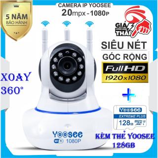 (KÈM Thẻ Nhớ 128GB Trị Giá 400k - BH 5 NĂM 1 ĐỔI 1 TRONG 30 NGÀY) - CAMERA WIFI KHÔNG DÂY YOOSEE 3 Râu WIFI,xoay 360 độ SIÊU NÉT 2.0 FULL HD 1920 x 1080P,camera trong nhà, ngoài trời ,cảnh báo chuyển động thumbnail