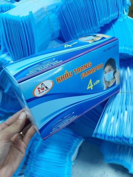 Khẩu trang kháng khuẩn 4 lớp Nam Anh Famapro hộp 50 cái màu xanh tốt nhất