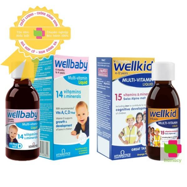 Vitamin tổng hợp cho bé Wellbaby (6 tháng - 4 tuổi)/Wellkid (4-12 tuổi) Multivitamin Liquid, Anh (150ml) nhập khẩu