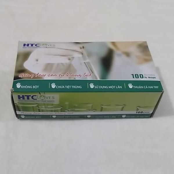 Găng Tay - bao tay - y tế  KHÔNG BỘT HTC hộp 100 cái màu cao su tự nhiên
