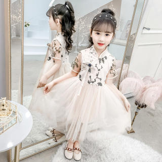 Bộ Quần Áo Trẻ Em 4-13 Tuổi Cho Bé Gái Sườn Xám Váy Đầm Satin Phong Cách Trung Quốc Truyền Thống Thời Trang Trẻ Em Hán Phục Mới Áo Qipao + Váy 2 Chiếc Đầm Ngắn Tay Trang Phục Bộ Đồ Nữ Tết Nguyên Đán 2021 Trang Phục Đầm Công Chúa Vải Tuyn