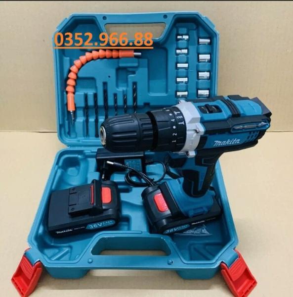 Máy khoan pin 36V Makita 3 chức năng có búa - Tặng kèm 24 chi tiết gồm các mũi khoan + Mũi bắt vít