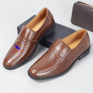 Giày tây nam da bò thật mũi bo tròn dành cho người trẻ, trung niên , cao niên Giày Cổ điển Da Đơn Giản Giầy Nam Ông Già Giày cha Giày Người Trung Niên Và Giày Ba Giày Của Nam Giới Giày của bố O-1 màu nâu thumbnail